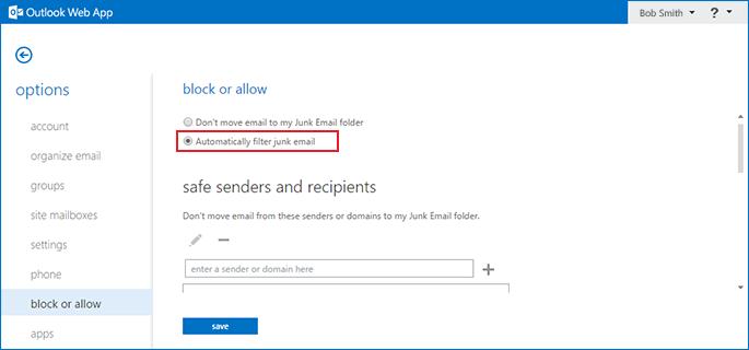 configure junk folder in outlook access step 5