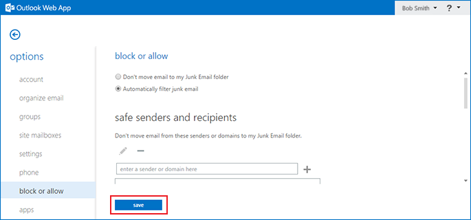 configure junk folder in outlook access step 6