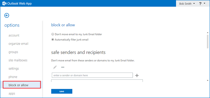 how to disable the Outlook Exchange spam filter step 4