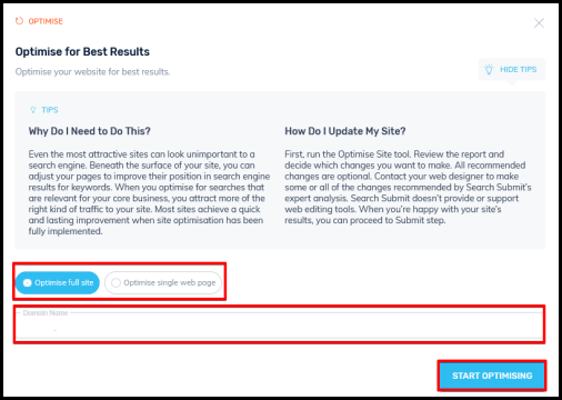 optimise your website window on traffic booster page