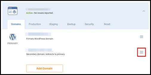 WordPress Hosting manager page to change main domain name highlighting hamburger icon