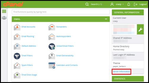 server info link on hosting manager