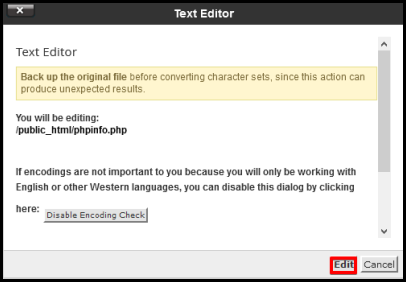 information alert window to be directed to a text editor page for phpinfo file