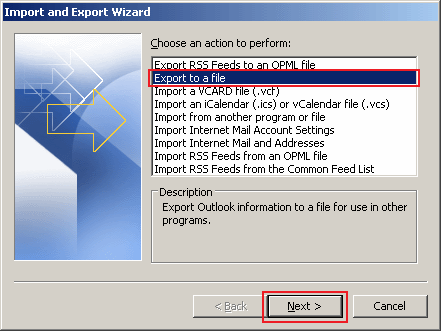 how to export data in Outlook 2010 step 3