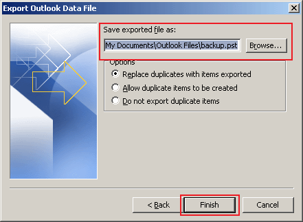how to export data in Outlook 2010 step 6