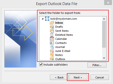 how to export data in Outlook 2013 step 5