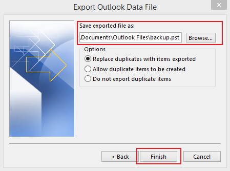 how to export data in Outlook 2013 step 6