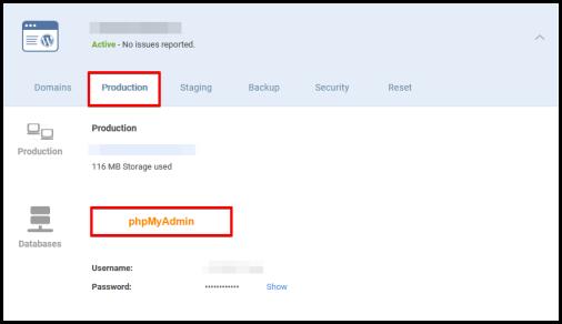 access phpMyAdmin via WordPress Hosting manager