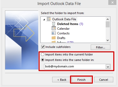 importing data in Outlook 2013 step 7