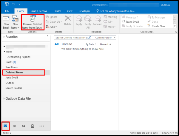 recover deleted items from server on outlook desktop