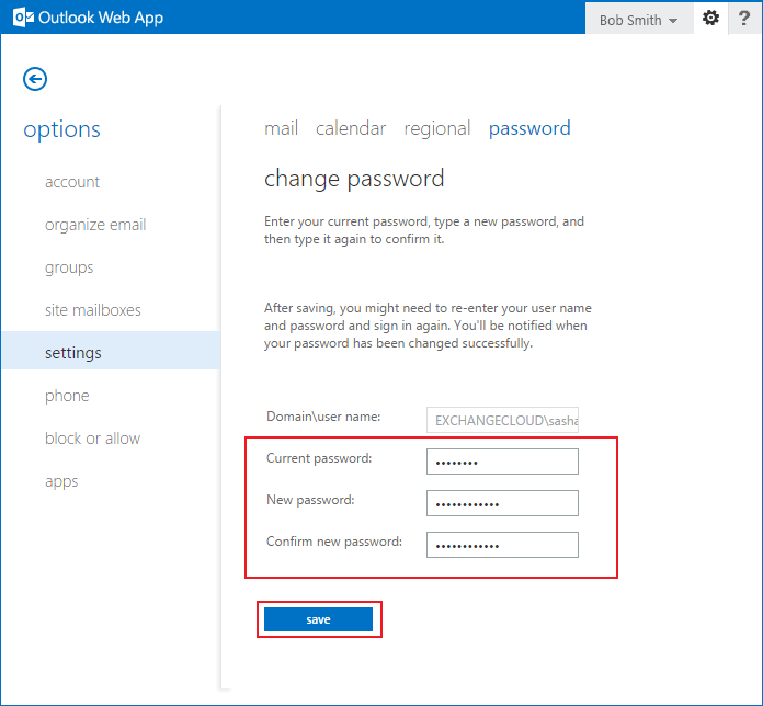 changing your password using Web Access step 4