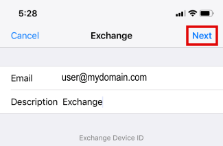 MS Email Exchange setup instructions for iPhone and iPad step 5