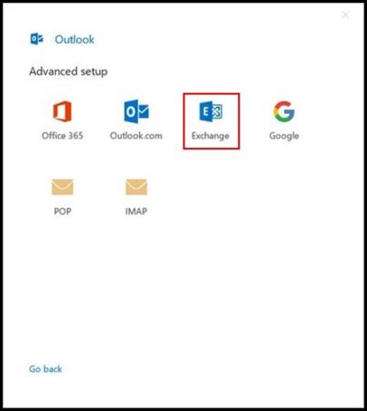Outlook 2019 setup Exchange server option