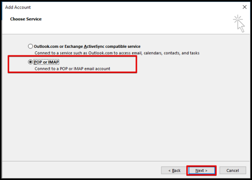 premium email settings window options POP or IMAP on outlook
