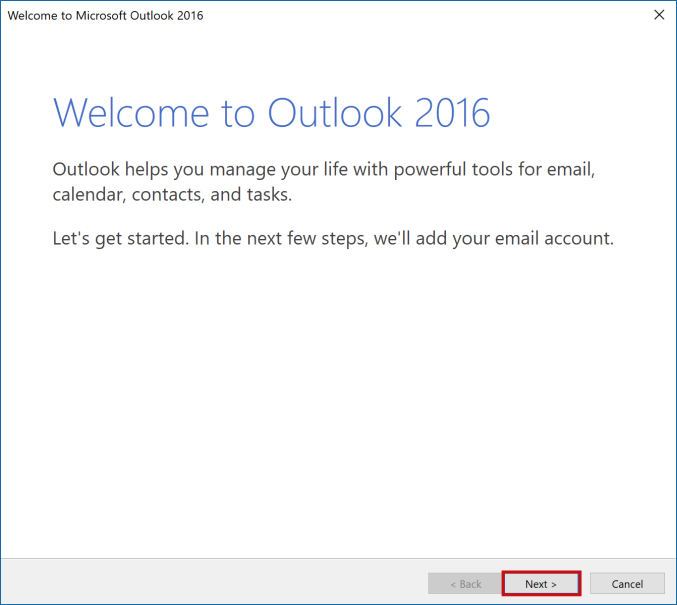 setting up outlook 2016 to check email step 1
