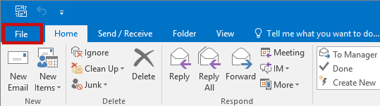 setting up outlook 2016 to check email step 1.A