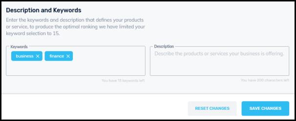 business description keywords textbox
