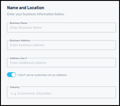 business name and location input form for business directory settings