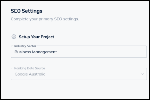 seo settings set up seo project step 3