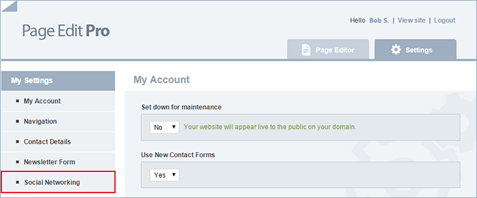 set up social links with Page Editor step 3