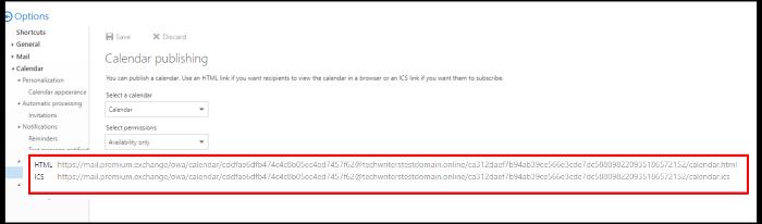 publish calendar on owa HTML link