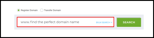 register domain name search box