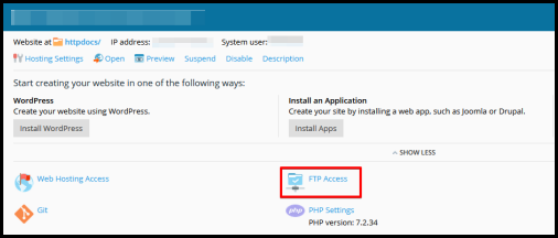 FTP Access button in Plesk Hosting Manager