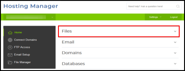 files drop down option to access ftp connection function in hosting manager