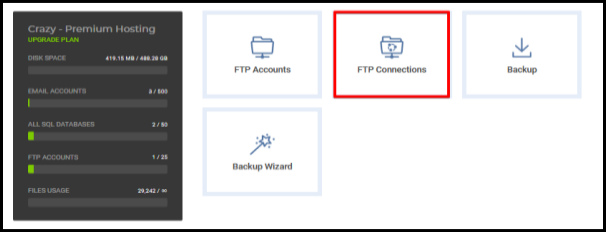 highlighted ftp connection option in hosting manager