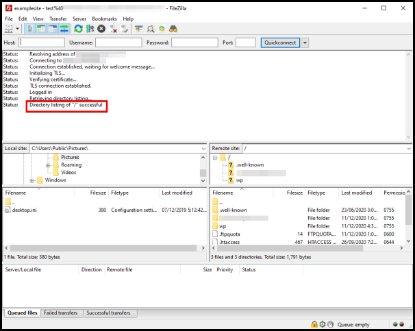 Successful connection to a server using FileZilla FTP client