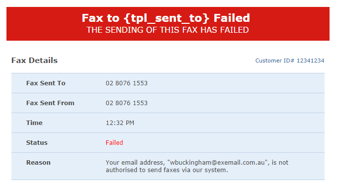 sending a fax to my email address is not recognized notification