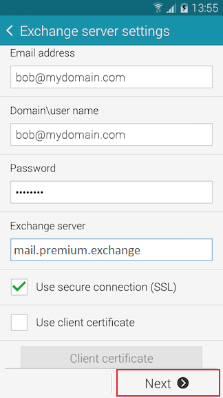 Exchange Server Settings