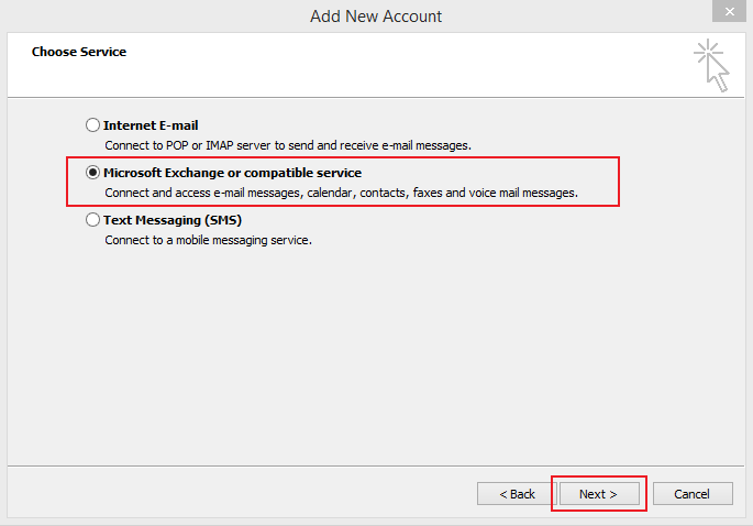 Set up Email Exchange using Outlook 2010 instructions step 6