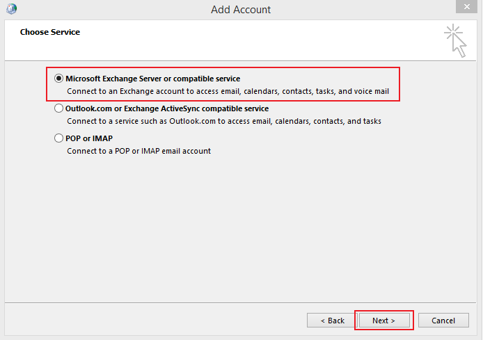 Outlook 2013 setup instructions for MS Email Exchange step 6