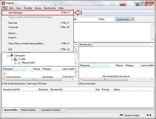 using filezilla to upload with site manager