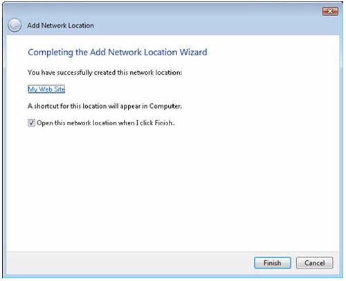 using windows vista to upload and completing the add network location wizard