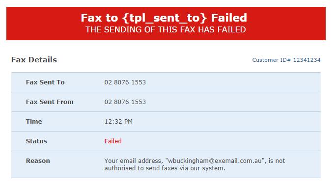 fax message sending failed notification